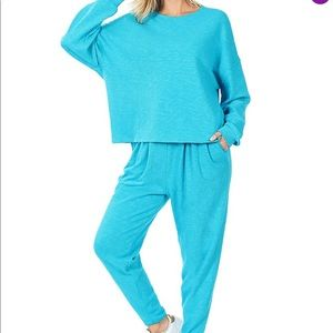 NEW  Teal Long Sleeves and Pants Lounge Set